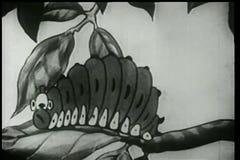 Tecknad film av larvdrevet som vänder in i fjärilsmusiker royaltyfri illustrationer