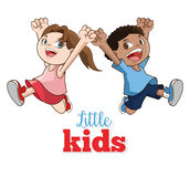 Tecknad film av lyckliga små ungar, vektorillustration Arkivfoton