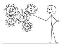 Tecknad film av mannen eller affärsmannen Pointing på arbetande kugghjul eller kugge- eller kugghjulhjul royaltyfri illustrationer