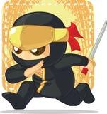 Tecknad film av Ninja Holding Japanese Sword Royaltyfri Bild
