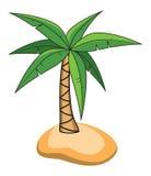 Tecknad film av palmträdet på en liten ö Royaltyfria Foton