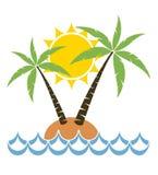 Tecknad film av palmträdet på en liten ö Royaltyfri Bild