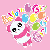 Tecknad film av pandan och ballonger Arkivbild