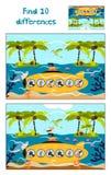 Tecknad film av utbildning som finner 10 skillnader i undervattens- barns bilder Royaltyfri Fotografi