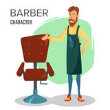 Tecknad film Barber Character Vector Klassisk vardagsrumstol Lycklig professionell Barber Standing At Workplace cartoon stock illustrationer