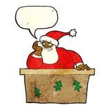 tecknad film borrade Santa Claus med anförandebubblan Arkivfoton