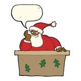 tecknad film borrade Santa Claus med anförandebubblan Arkivfoto