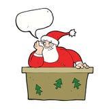 tecknad film borrade Santa Claus med anförandebubblan Fotografering för Bildbyråer