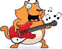 Tecknad film Cat Guitar Arkivfoton