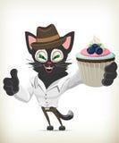 Tecknad film Cat Holding Cupcake Royaltyfri Bild