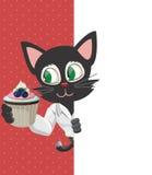 Tecknad film Cat Poses med muffin Royaltyfria Foton