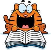 Tecknad film Cat Reading Royaltyfri Bild