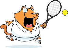 Tecknad film Cat Tennis Fotografering för Bildbyråer