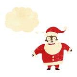 tecknad film chockade Santa Claus med tankebubblan Arkivfoto