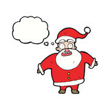 tecknad film chockade Santa Claus med tankebubblan Fotografering för Bildbyråer