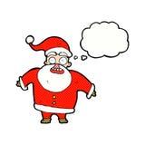 tecknad film chockade Santa Claus med tankebubblan Arkivfoton