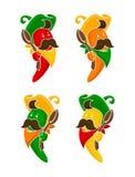 Tecknad film färgad uppsättning för symboler för tecken för chilipeppar royaltyfri illustrationer