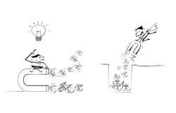 Tecknad film för affärsman för klotter för vektorillustrationattraktion Royaltyfri Illustrationer