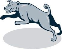 Tecknad film för banhoppning för mastiffhundbyracka stock illustrationer