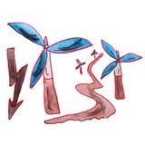 Tecknad film för energi för vind för teckningsbarnvattenfärg på Arkivfoto