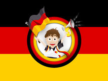 Tecknad film för flagga för Tysklandfotbollfan Arkivfoto