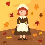 Tecknad film för flicka för tacksägelsehättaförkläde Arkivbild
