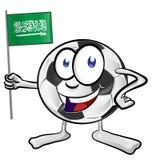Tecknad film för fotbollboll med den Saudiarabien flaggan Arkivbilder