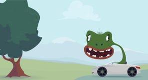 Tecknad film för grön ödla stock illustrationer