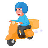 Tecknad film för leveransman med sparkcykeln Royaltyfri Bild