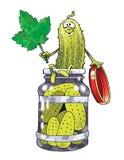 Tecknad film för på burk mat för inlagd gurka inlagd Arkivbild