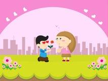 Tecknad film för pojkegåvablomma Royaltyfria Bilder