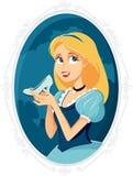 Tecknad film för prinsessa Cinderella Holding Magic Shoe Vector Royaltyfri Bild