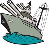 Tecknad film för slagskepp för världskrig två royaltyfri illustrationer