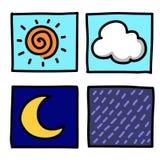 Tecknad film för väderhanddraw. Fotografering för Bildbyråer