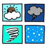 Tecknad film för väderhanddraw. Royaltyfri Bild