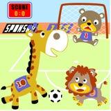 Tecknad film för vektor för djurfotbollspelare vektor illustrationer