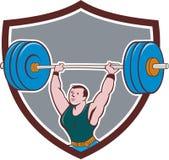 Tecknad film för Weightlifterlyftande skivstångsköld Arkivfoton