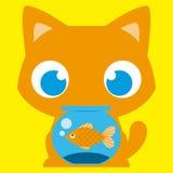 Tecknad film förtjusande Cat With en fisk i en Fishbowl Arkivbilder