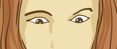 Tecknad film förvånad övreframsida för kvinna` s med förvånade ögon som ner ser Royaltyfri Bild