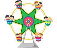 Tecknad film Ferris Wheel Over stock illustrationer