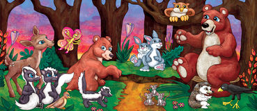 Tecknad film Forest Animals Royaltyfri Illustrationer