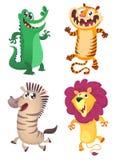 Tecknad film Forest Animals Set Vektorillustration av krokodilen, tiger, sebra, lejon royaltyfri illustrationer