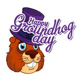Tecknad film gamla Groundhog i en hatt och inskriften Vektorillustration till den Groundhog dagen Arkivfoto