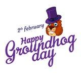 Tecknad film gamla Groundhog i hatt och inskriften: 2 februari Lycklig Groundhog dag Arkivfoto