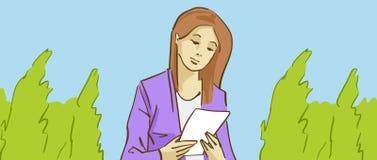 Tecknad film Gigl som läser ett brev i en parkera Fotografering för Bildbyråer