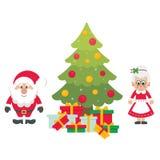 Tecknad film gulliga Santa Claus med julgranträdet och gåvor och mrs santa stock illustrationer