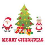 Tecknad film gulliga Santa Claus med julgranträdet och gåvor och mrs santa vektor vektor illustrationer