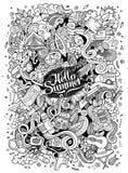 Tecknad film hand-dragen klotterlägerillustration Royaltyfri Fotografi