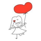 Tecknad film hand-dragen lycklig unge Arkivbild