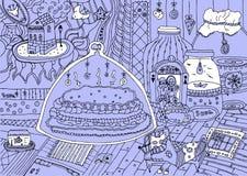 Tecknad film hand-drog klotter royaltyfri illustrationer